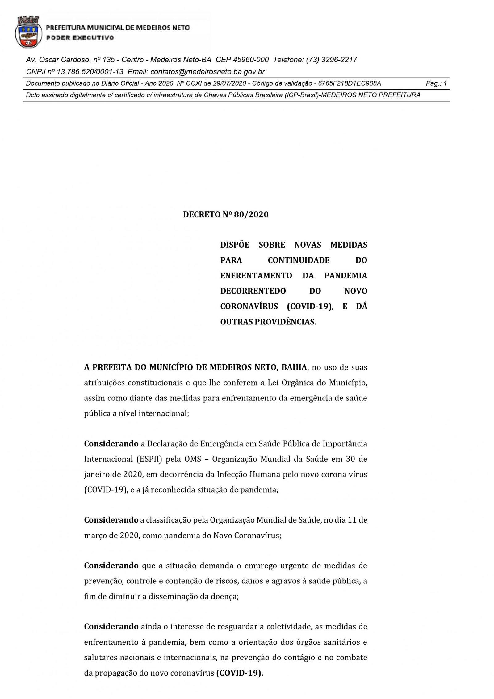 Novo Decreto traz novas medidas e suspende toque de recolher