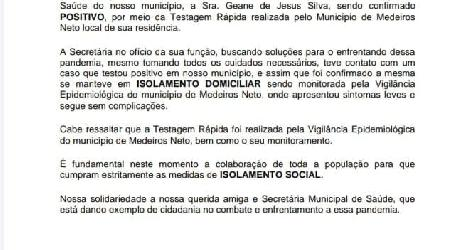 [ Prefeitura de Vereda emite nota sobre secretária de Saúde com covid-19 ]